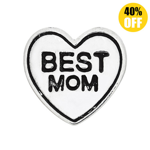 18MM Heart Best mom Snap Button Charms LSSN139
