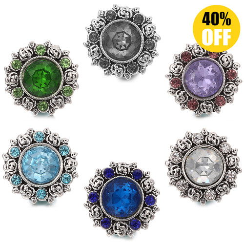 18MM Flower Design Wholesale Snap Button Jewelry LSSN465