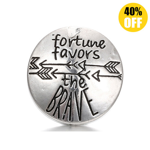 18MM Fortune Favors The Brave Snap Jewelry Charms LSSN190