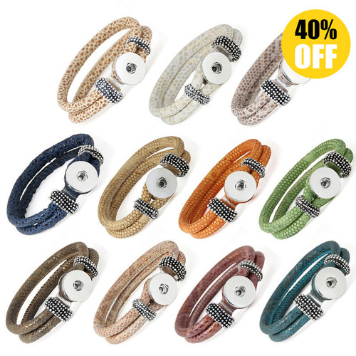 Double Layered  Snake Skin Style Snap Button Bracelets LSNB84