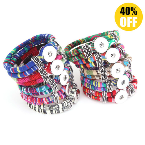 Double Layered  Colored Cloth Snap Button Bracelets LSNB85
