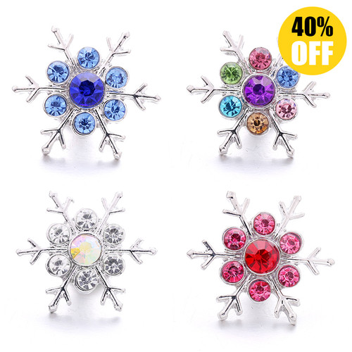 18MM Clear Snowflake Snap Button Charms LSSN434