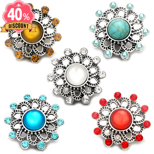 5pcs/lot 5 Colors  Round Snap Jewelry Charms Button LSSN478