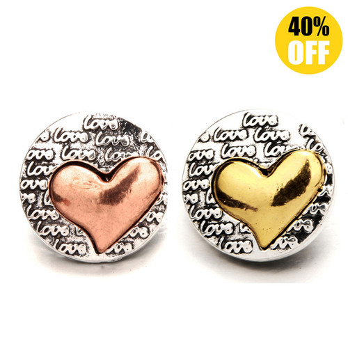 18MM Love Heart  Snap Button Charms  LSSN391