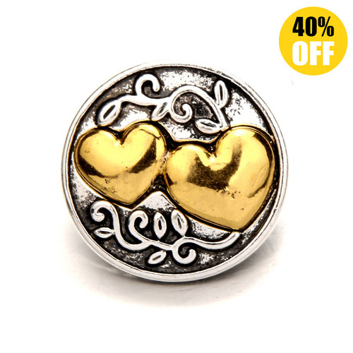 18MM Heart to Heart Snap Button Charms LSSN395