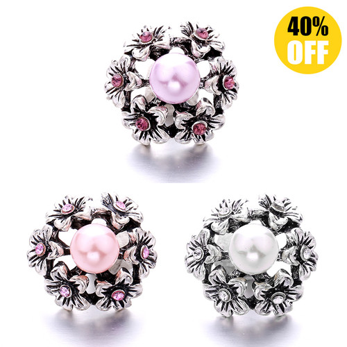 Wholesale 18MM Crystal Flowers Snap Button Charms LSSN430