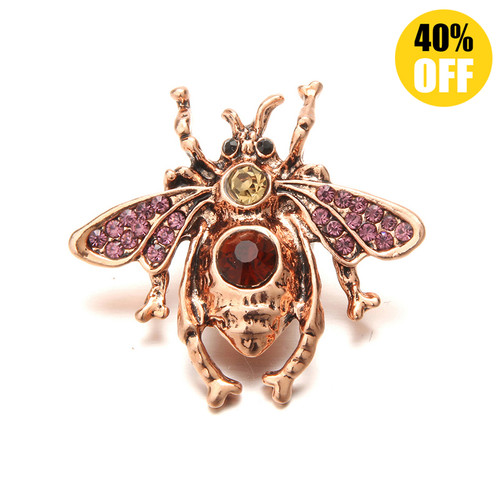 18MM Rose Golden Beetle Snap Jewelry Charms LSSN537