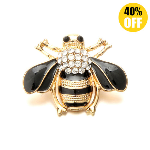 18MM Golden Bee Snap Jewelry Charms LSSN535