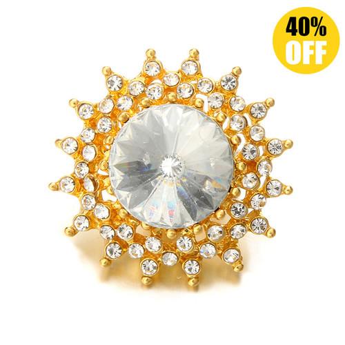 18MM Golden Sun Flower Snap Jewelry Charms LSSN573