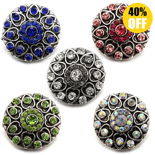 18MM Round Snap Button Charms 5 Color to choose Bulk Wholesale LSSN489
