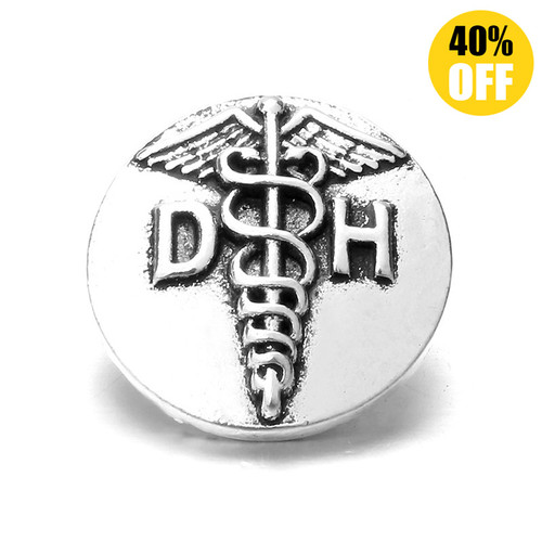 18MM Retro Letters DH Snap Jewelry Charms LSSN158