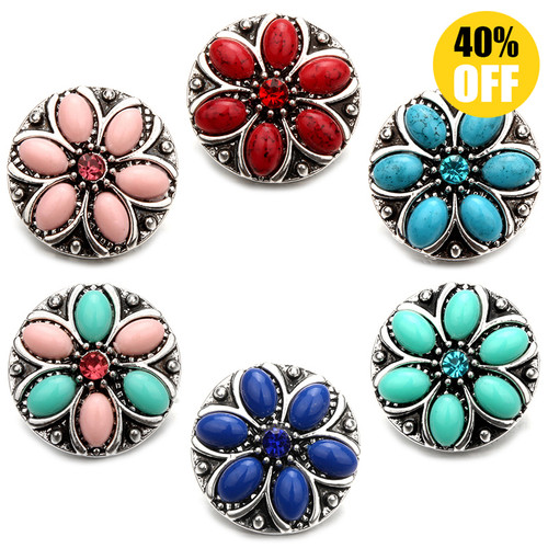 18MM Round Colorful Snap Button Charms Multi-color LSSN490