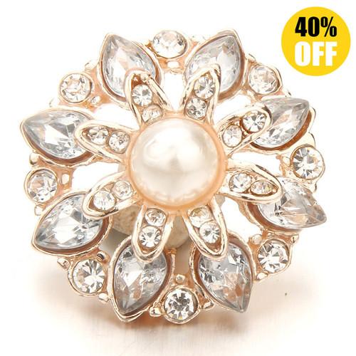 18MM Diamond-Studded Flower Snap Button Charms LSSN696