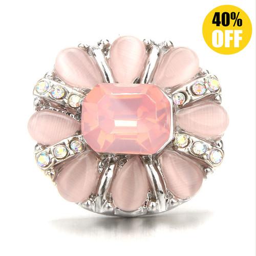 18MM Pink Flower Snap Button Charms LSSN712