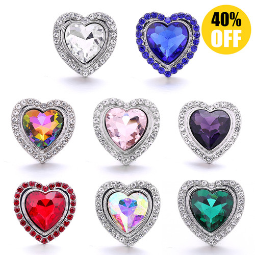 18MM Wholesale Heart Snap Button Charms LSSN704