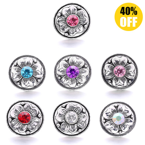 18MM Pretty Flower Snap Jewelry Charms LSSN755