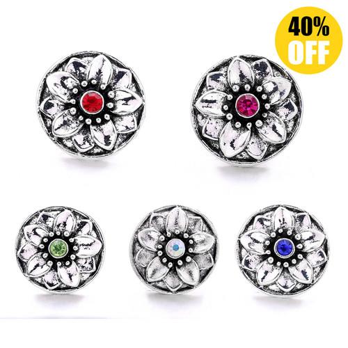 18MM Diamond Flower Snap Button Charms  LSSN757