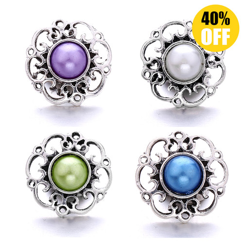 18MM Hollow Flower Snap Jewelry Charms LSSN764