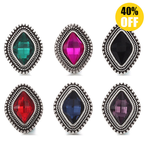 18mm Colorful Diamond Snap Button Charms Multi-color LSSN239