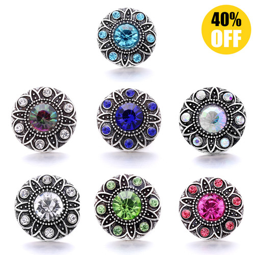 18MM Wholesale Diamond Flowers Snap Jewelry Charms LSSN878