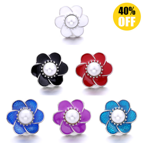 18MM Wholesale Diamond Flowers Snap Jewelry Charms LSSN884