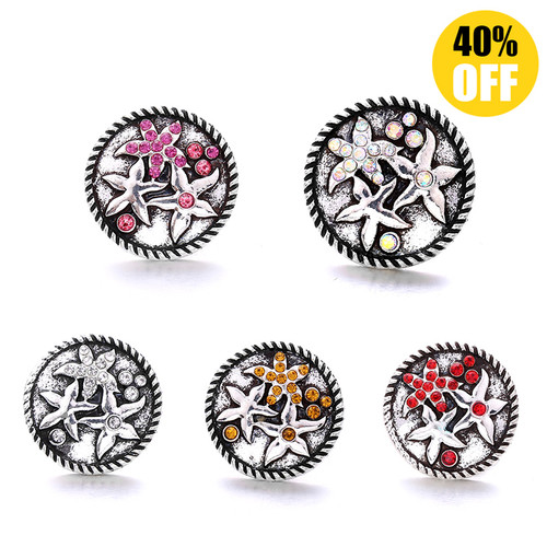18MM 3 Diamond-encrusted Stars Snap Jewelry Charms LSSN888