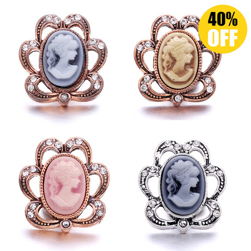 18MM Hollow Crystal Flower Snap Jewelry Charms LSSN900