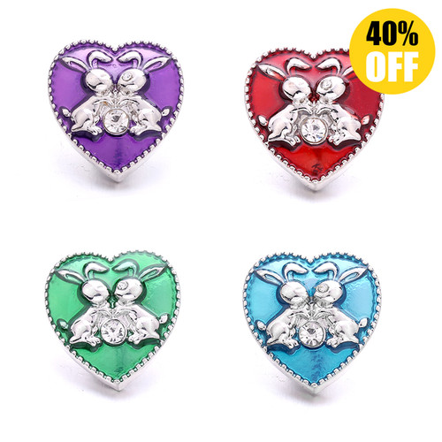 18MM A Pair Of Bunny In Love Snap Jewelry Charms LSSN925
