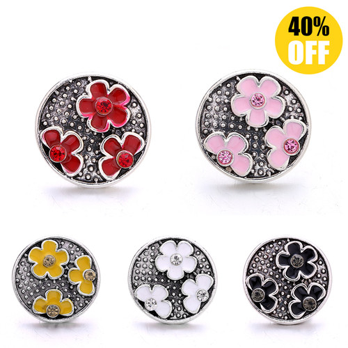 18MM 3 Flowers Snap Jewelry Charms  LSSN926