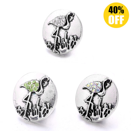 18MM Red-crowned Crane Snap Jewelry Charms LSSN927