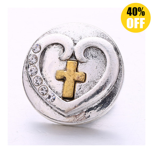 18MM Heart Shaped Cross Snap Jewelry Charms LSSN873