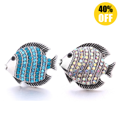 18MM Wholesale Crystal Fish Snap Jewelry Charms LSSN1097