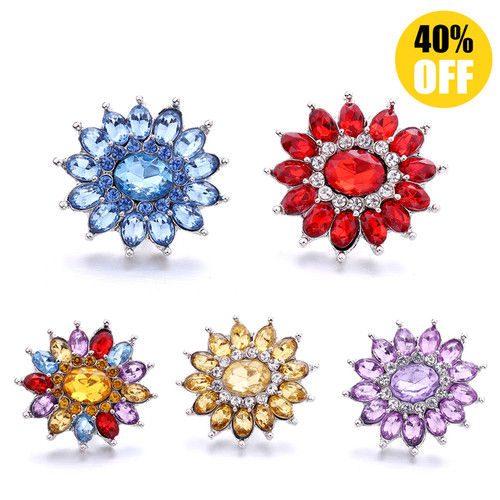 18MM Fashion Crystal Flowers Snap Jewelry Charms LSSN948