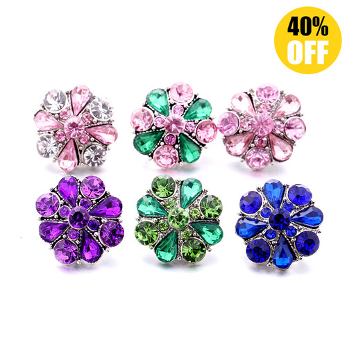 18MM Fashion Crystal Flowers Snap Jewelry Charms LSSN953
