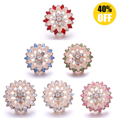 18MM Wholesale Crystal Flowers Snap Jewelry Charms LSSN961