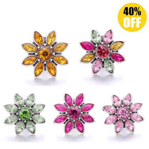 18MM Wholesale Crystal Flowers Snap Jewelry Charms LSSN963