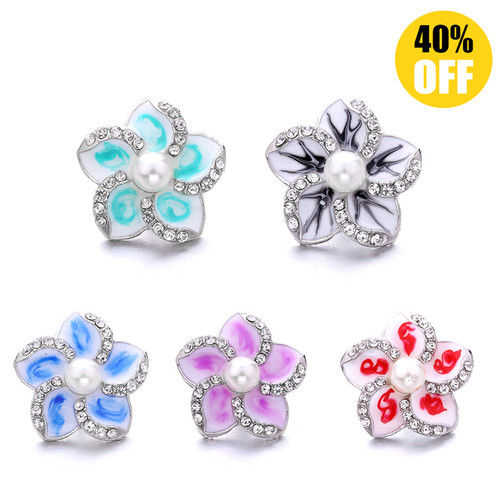 18MM Pentagram Flowers Snap Button Charms LSSN968