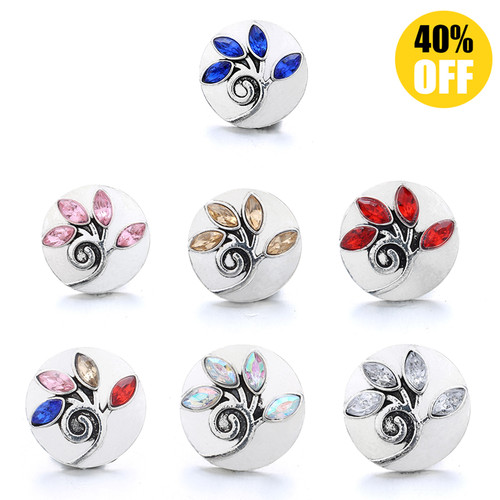 18MM Pretty Crystal Flowers Snap Button Charms LSSN1007