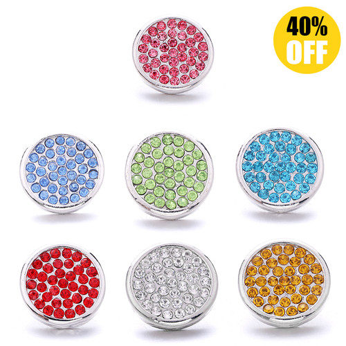 18MM Round Crystal Snap Button Charms LSSN1000