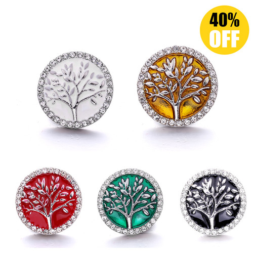 18MM Crystal Big Tree Snap Button Charms LSSN1027