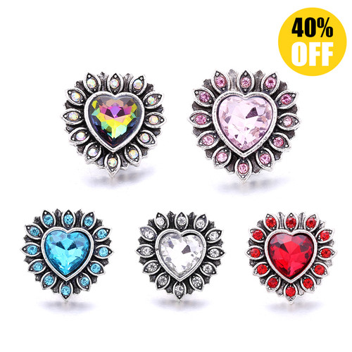 18MM Pretty Heart Shaped Snap Button Charms LSSN1038