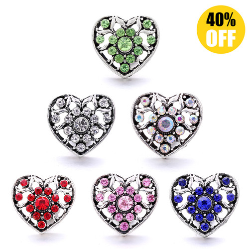 18MM Pretty Heart Shaped Snap Button Charms  LSSN1039