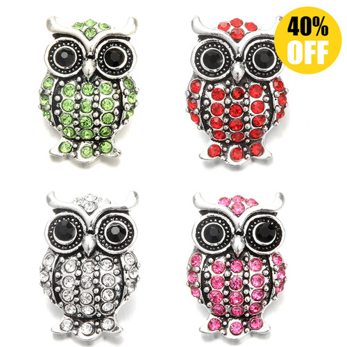18MM Crystal Owl Snap Jewelry Charms LSSN1050