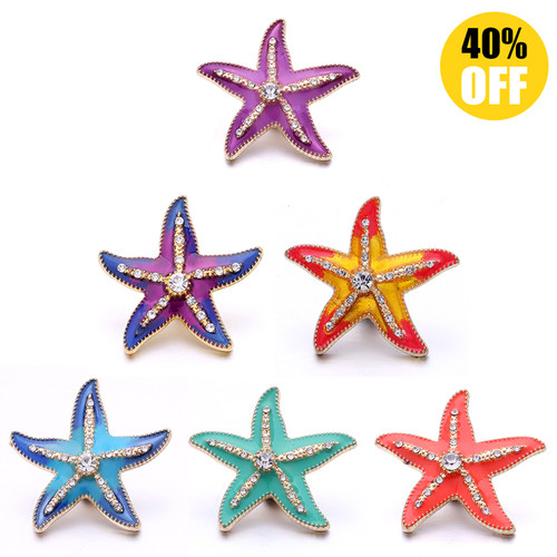 18MM Crystal Five Star Snap Button Charms LSSN1049