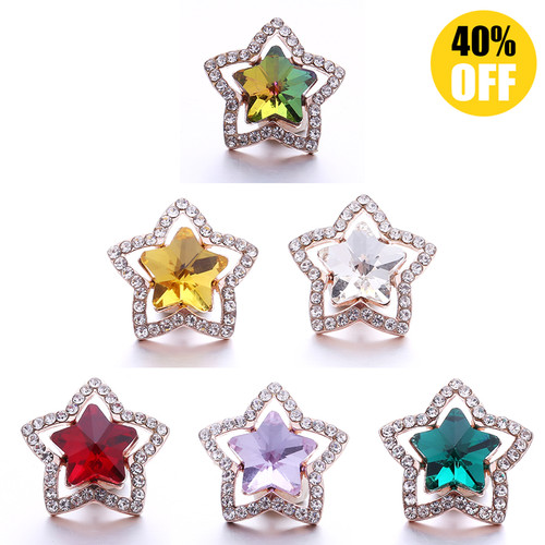 18MM Crystal Five StarSnap Button Charms LSSN1047