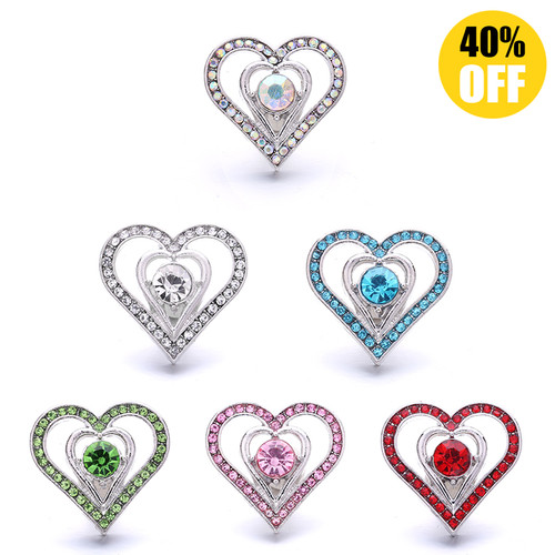 18MM Pretty Crystal Heart-shaped Snap Jewelry Charms LSSN1046