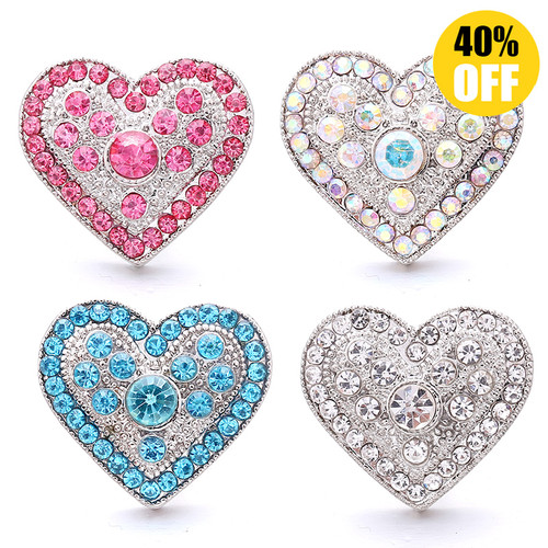 18MM Wholesale Crystal Love Heart Snap Button Charms LSSN1063