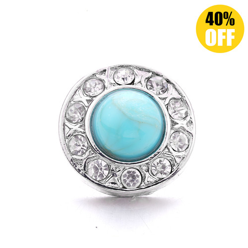 18MM Sapphire Blue Round Snap Jewelry Charms LSSN1084