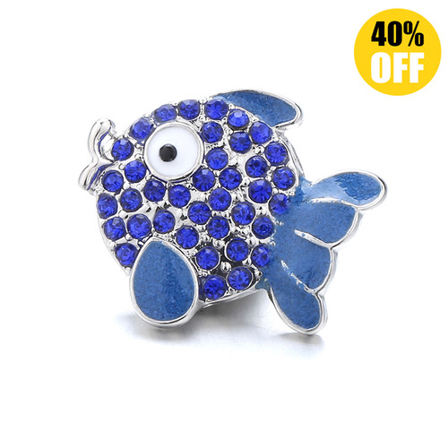 18MM A Blue Fish Snap Jewelry Charms LSSN1096