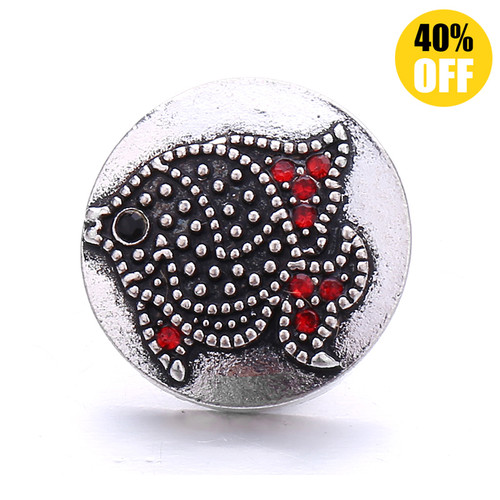 18MM A Black Fish Snap Jewelry Charms LSSN1099